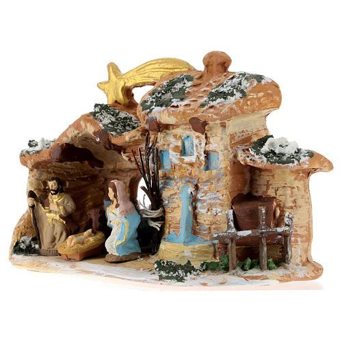 Cabaña de terracota coloreada con belén 4 cm Deruta 5 piezas y cometa 3