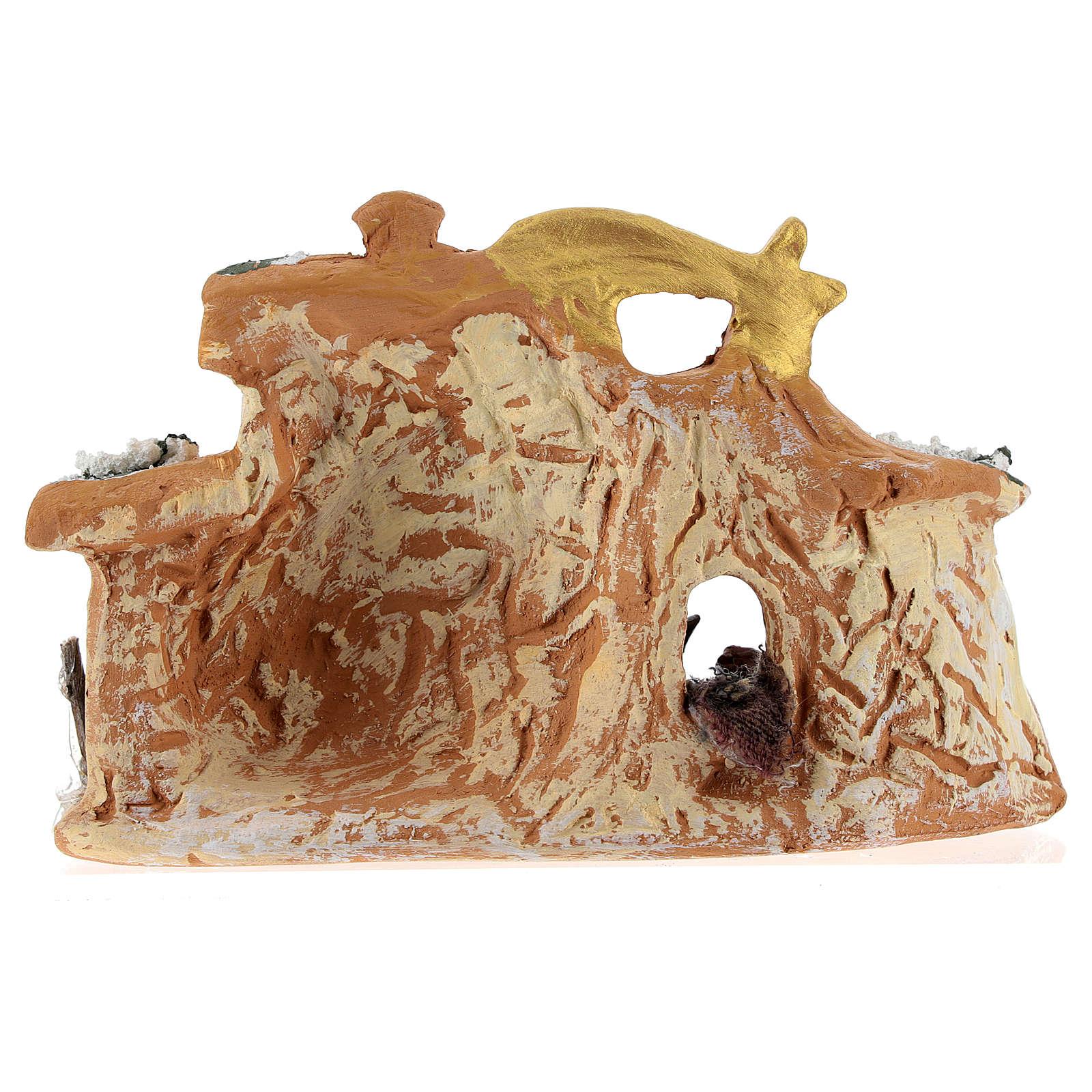 Capanna in terracotta colorata con presepe 4 cm Deruta 5 pz e cometa 4