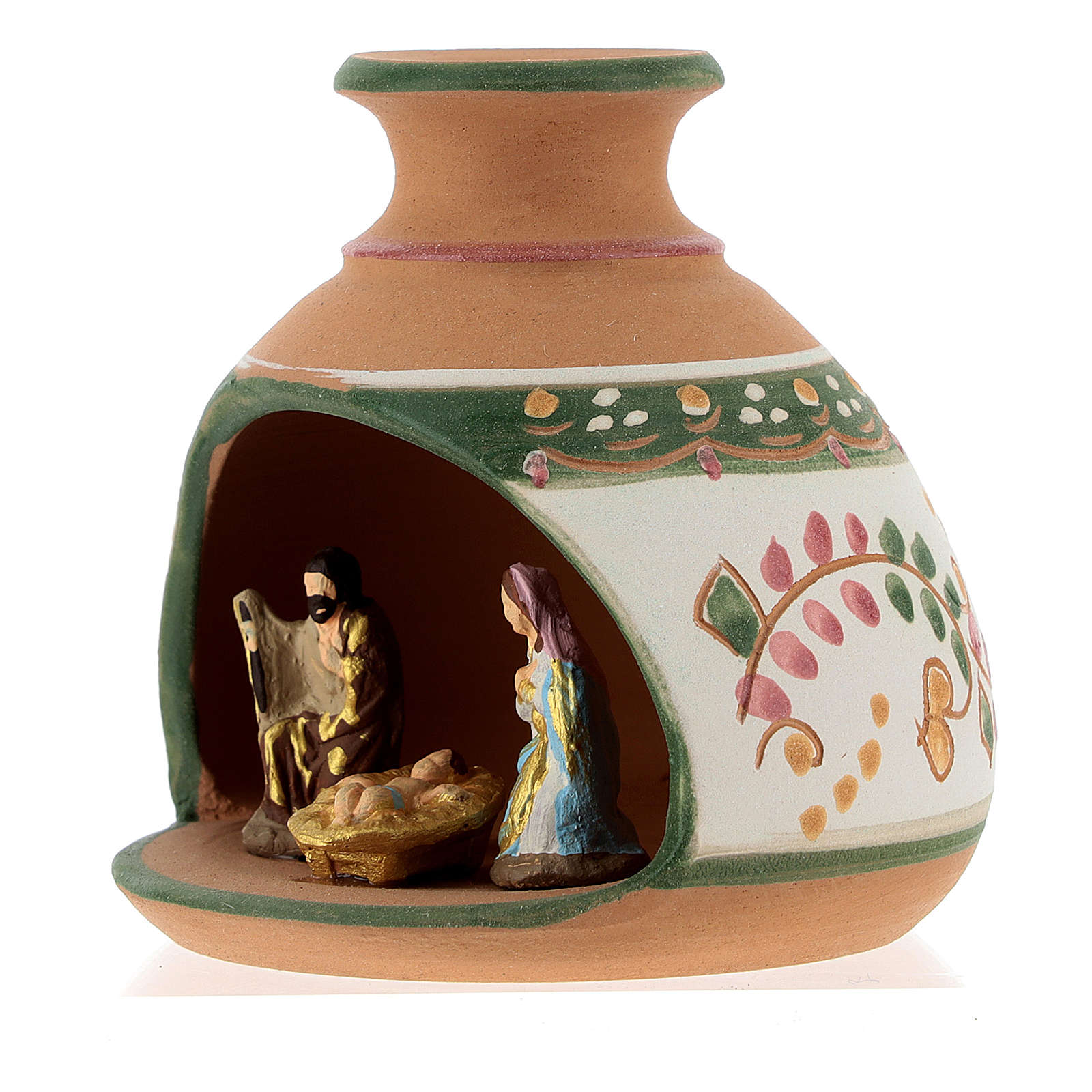 Nativity with shack and star in Deruta terracotta with red and green decoration 4