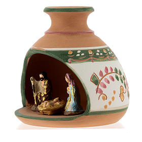 Nativity with shack and star in Deruta terracotta with red and green decoration s3