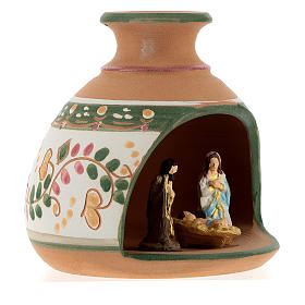 Nativity with shack and star in Deruta terracotta with red and green decoration s4