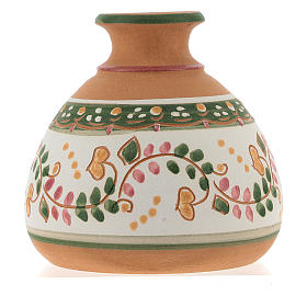 Nativity with shack and star in Deruta terracotta with red and green decoration s5
