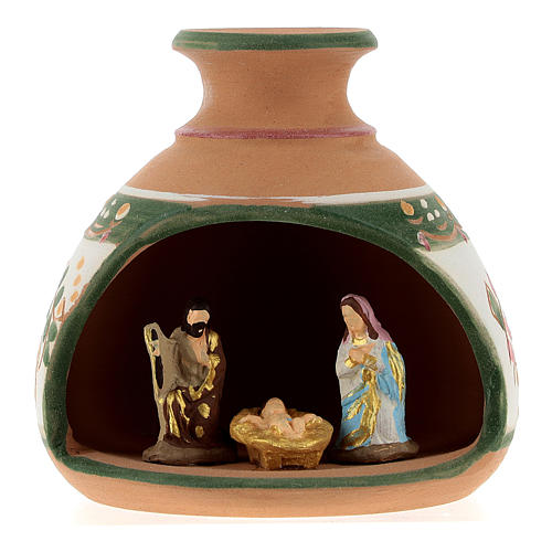 Nativity with shack and star in Deruta terracotta with red and green decoration 1