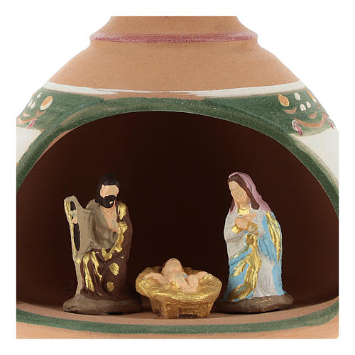 Nativity with shack and star in Deruta terracotta with red and green decoration 2