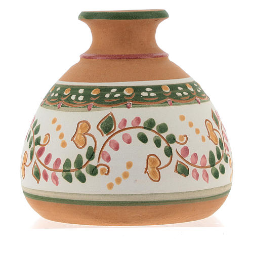 Nativity with shack and star in Deruta terracotta with red and green decoration 5