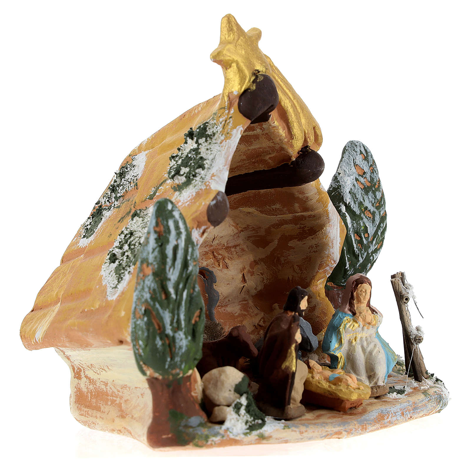 Nativity scene with shack and star in painted Deruta terracotta 4