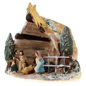 Nativity scene with shack and star in painted Deruta terracotta s3