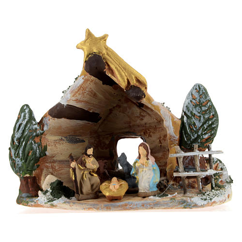 Nativity scene with shack and star in painted Deruta terracotta 1