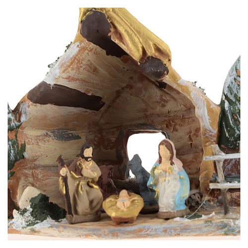 Nativity scene with shack and star in painted Deruta terracotta 2