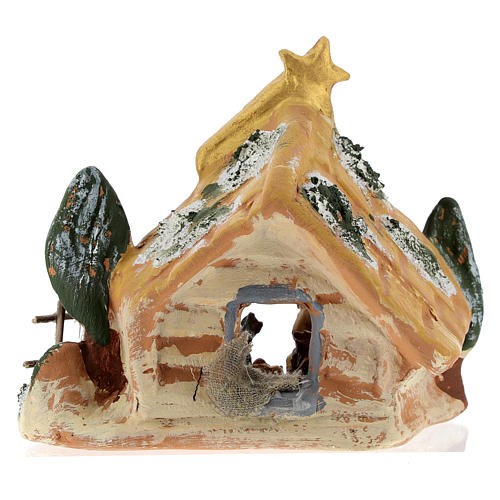 Nativity scene with shack and star in painted Deruta terracotta 5