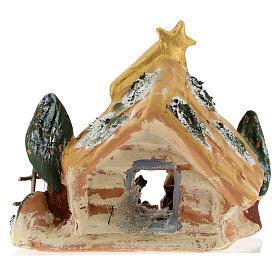 Cabaña Deruta de terracota coloreada con escena Natividad 4 cm 5 piezas y cometa s5