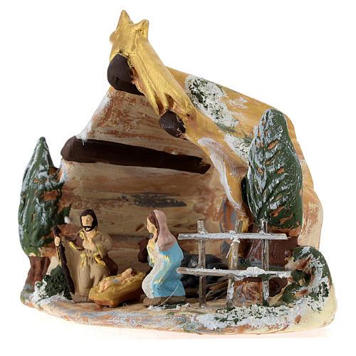 Cabaña Deruta de terracota coloreada con escena Natividad 4 cm 5 piezas y cometa 3