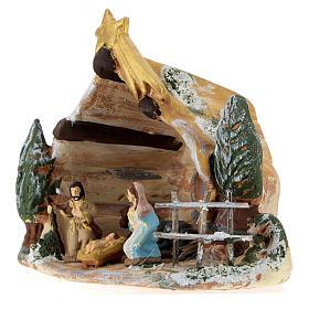 Capanna Deruta in terracotta colorata con scena Natività 4 cm 5 pz e cometa s3