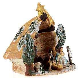 Capanna Deruta in terracotta colorata con scena Natività 4 cm 5 pz e cometa s4