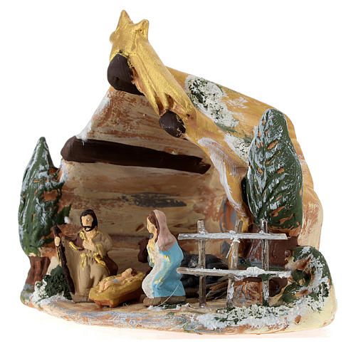 Capanna Deruta in terracotta colorata con scena Natività 4 cm 5 pz e cometa 3
