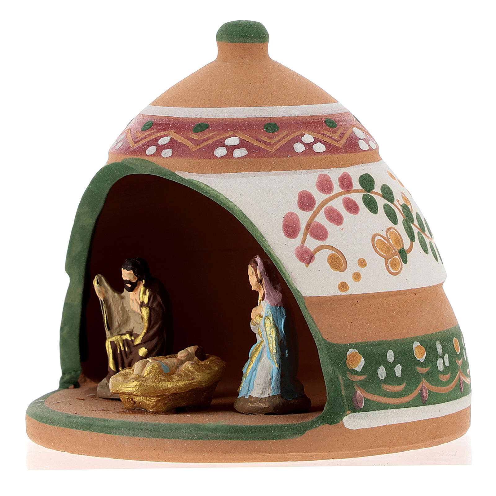 Nativity with shack in Deruta terracotta with pink and green decoration 10x10x10 cm 4
