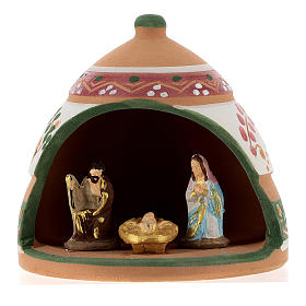 Nativity with shack in Deruta terracotta with pink and green decoration 10x10x10 cm s1
