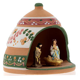 Nativity with shack in Deruta terracotta with pink and green decoration 10x10x10 cm s4