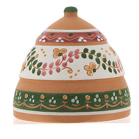 Nativity with shack in Deruta terracotta with pink and green decoration 10x10x10 cm s5