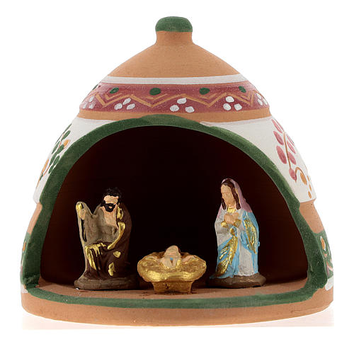Nativity with shack in Deruta terracotta with pink and green decoration 10x10x10 cm 1