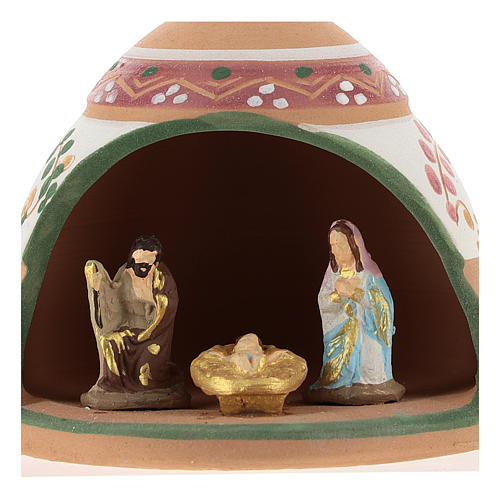 Nativity with shack in Deruta terracotta with pink and green decoration 10x10x10 cm 2