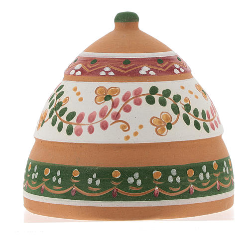 Nativity with shack in Deruta terracotta with pink and green decoration 10x10x10 cm 5