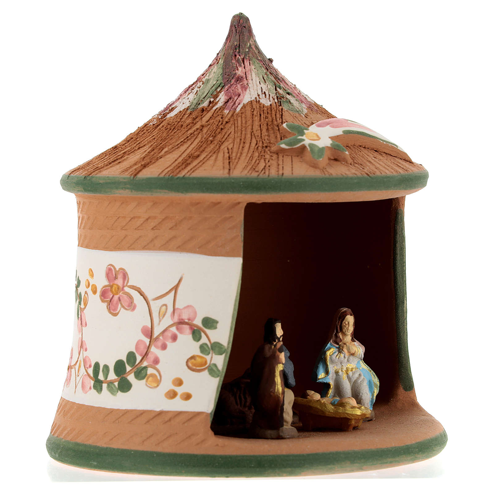 Nativity with shack in Deruta terracotta with green decoration 15x10x10 cm 4