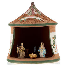 Nativity with shack in Deruta terracotta with green decoration 15x10x10 cm s1