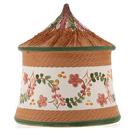 Nativity with shack in Deruta terracotta with green decoration 15x10x10 cm s5