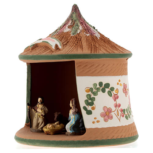 Nativity with shack in Deruta terracotta with green decoration 15x10x10 cm 3