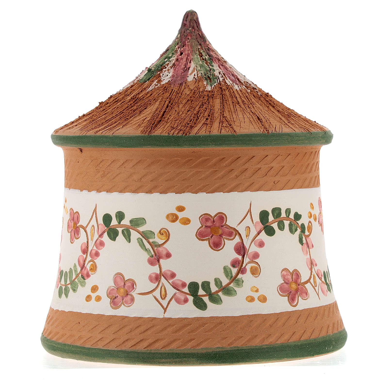 Cabaña cerámica natividad 4 cm coloreada country verde 15x10x10 cm Deruta 4