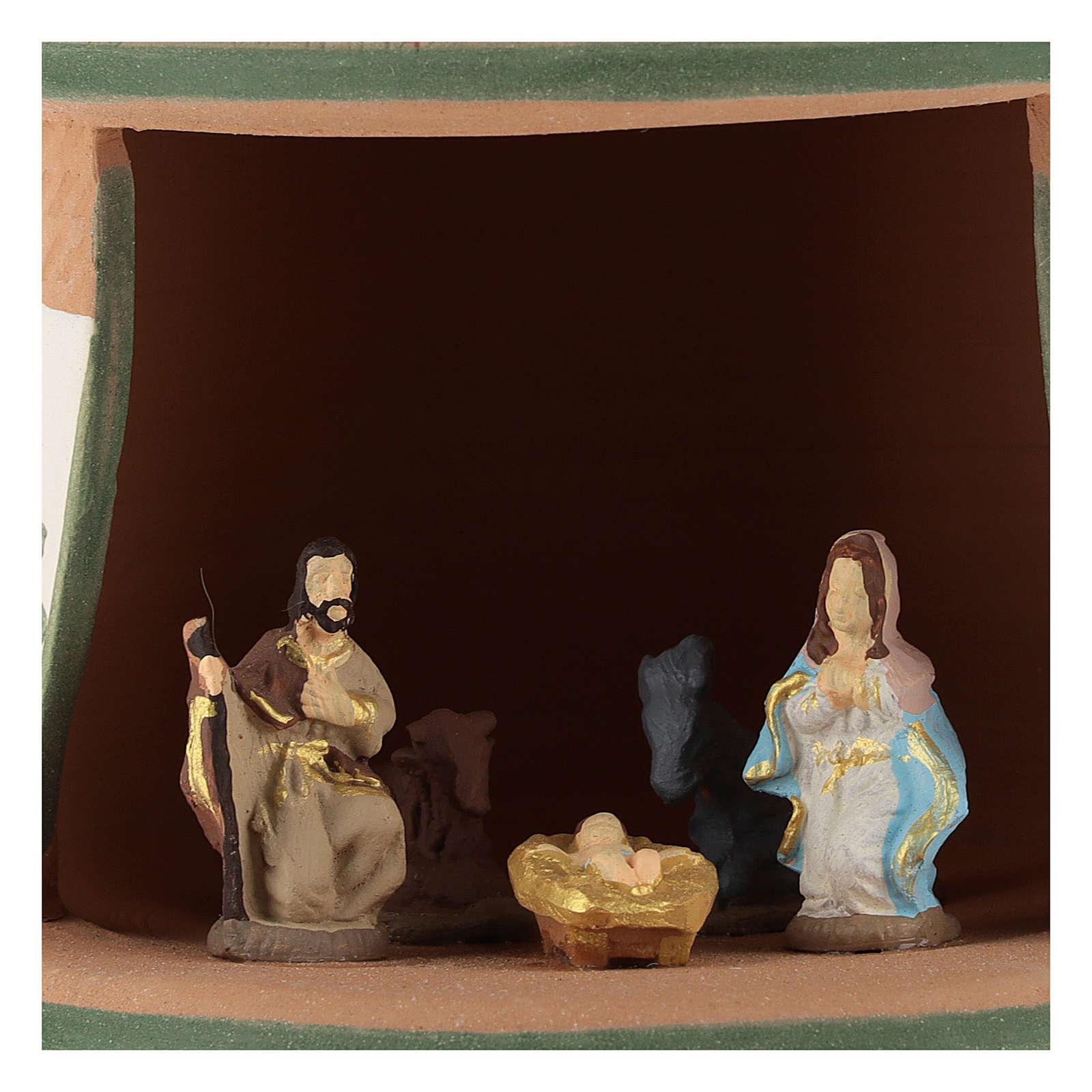 Capanna ceramica natività 4 cm colorata country verde 15x10x10 cm Deruta 4
