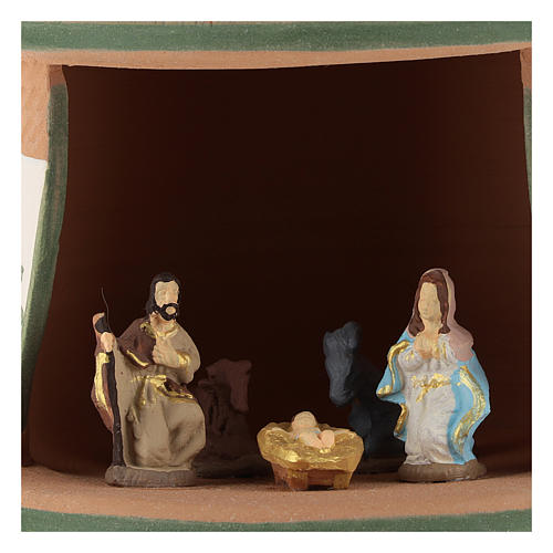 Capanna ceramica natività 4 cm colorata country verde 15x10x10 cm Deruta 2