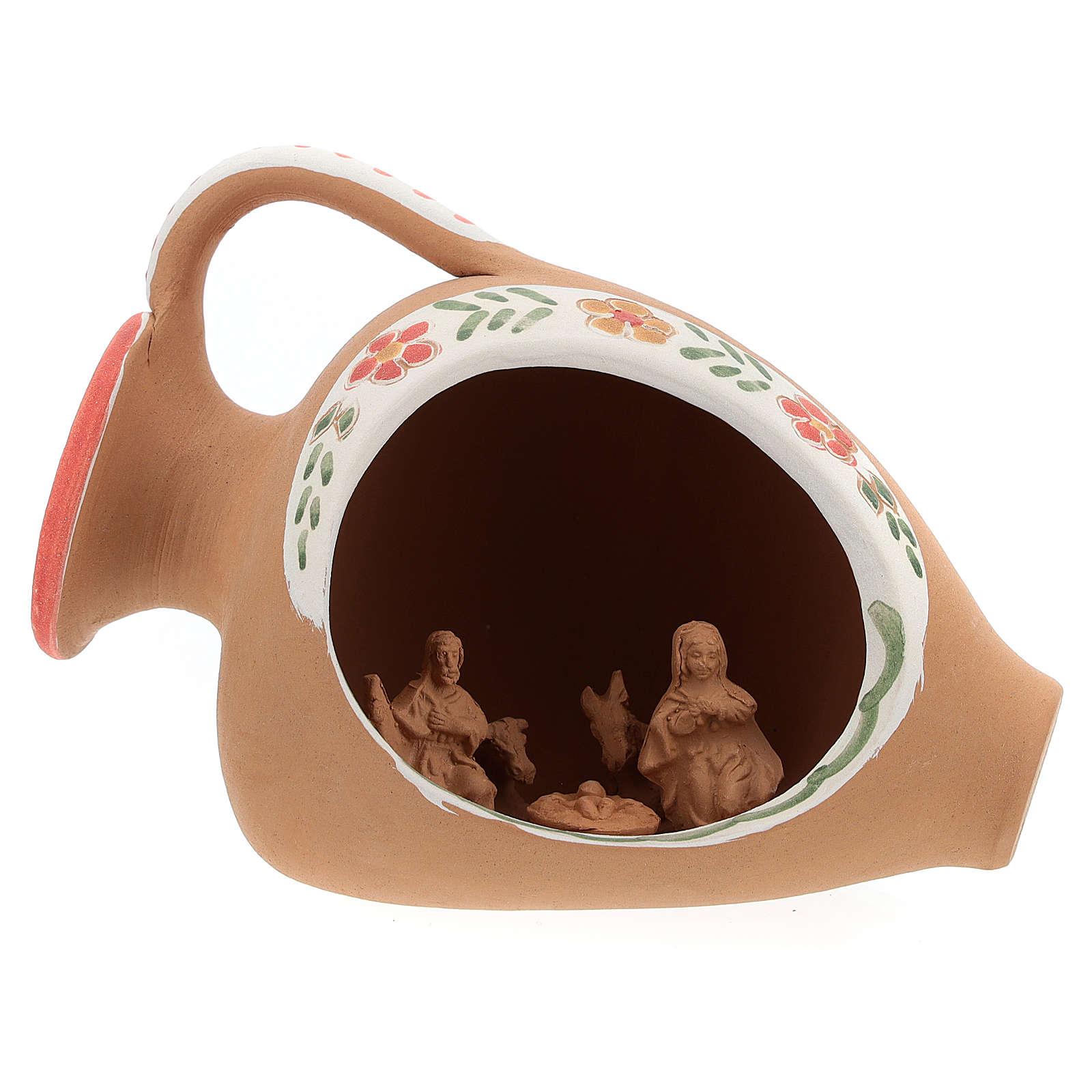 Nativity in terracotta amphora 10x15x10 cm 4