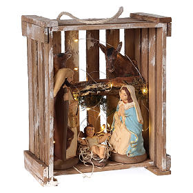 Nativity scene in Deruta terracotta in wood box with moss and lights 20 cm s4