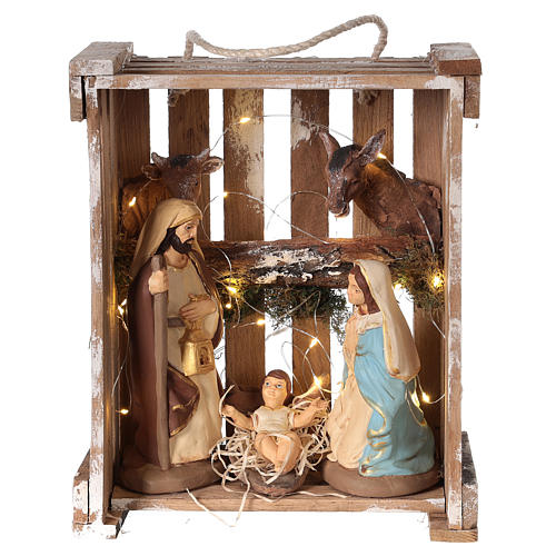 Nativity scene in Deruta terracotta in wood box with moss and lights 20 cm 1