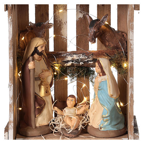 Nativity scene in Deruta terracotta in wood box with moss and lights 20 cm 2
