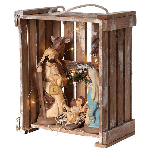 Nativity scene in Deruta terracotta in wood box with moss and lights 20 cm 3