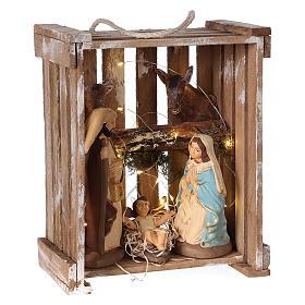 Natività presepe 20 cm Deruta in cassetta di legno e muschio con luci s4