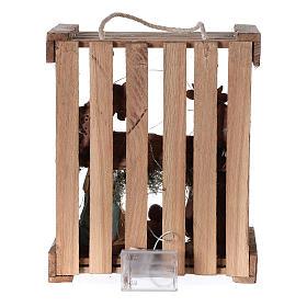 Natività presepe 20 cm Deruta in cassetta di legno e muschio con luci s5