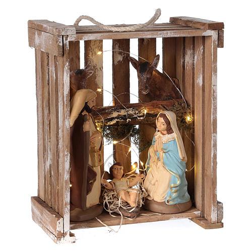 Natività presepe 20 cm Deruta in cassetta di legno e muschio con luci 4