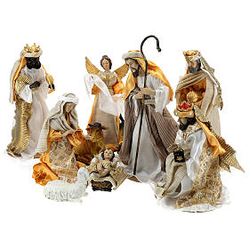 Resin and Fabric nativity scene sets: Complete Nativity scene set in painted resin, 10 characters, 40 cm