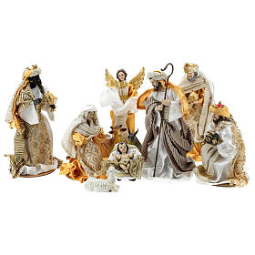 Resin and Fabric nativity scene sets: Complete Nativity scene set in painted resin, 10 characters, golden details 26 cm