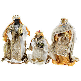 Complete Nativity scene set in painted resin, 10 characters, golden details 26 cm s5