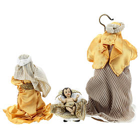 Complete Nativity scene set in painted resin, 10 characters, golden details 26 cm s7