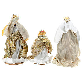 Complete Nativity scene set in painted resin, 10 characters, golden details 26 cm s8