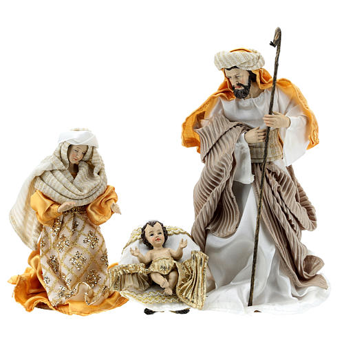 Complete Nativity scene set in painted resin, 10 characters, golden details 26 cm 2