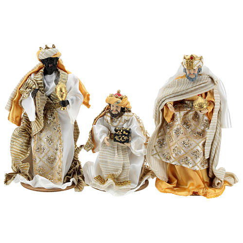 Complete Nativity scene set in painted resin, 10 characters, golden details 26 cm 5