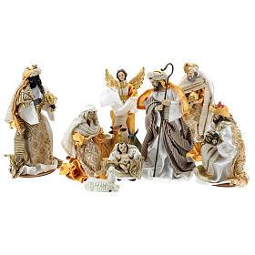 Presepe completo resina dipinta 10 personaggi dorati 26 cm s1
