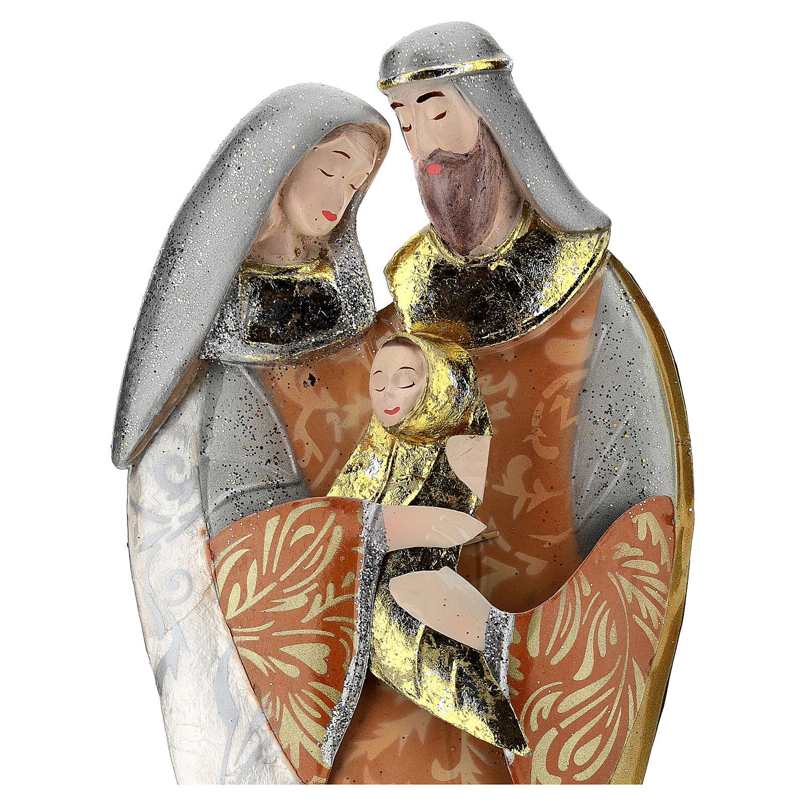 Sacra Famiglia abbraccio statua metallo h 36 cm 4